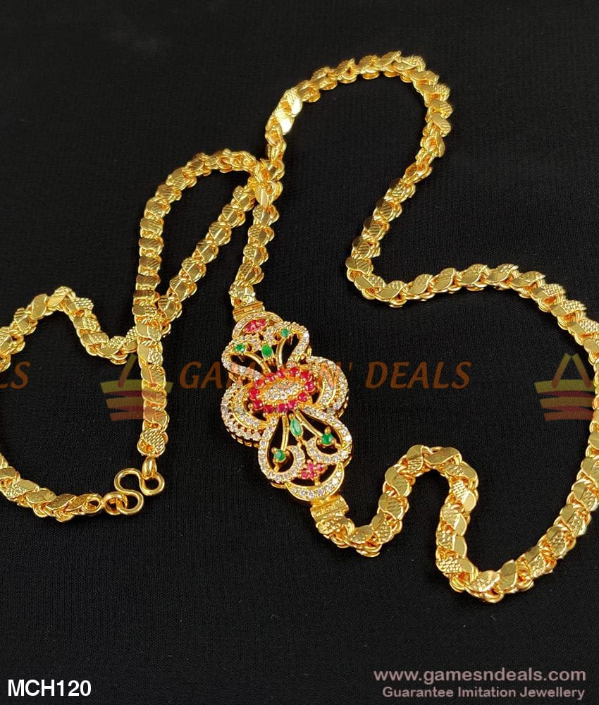Grand Big Side Pendant Sparkling Stone Dollar Mugappu Gold Chain Designs For Marriage Mch120 24