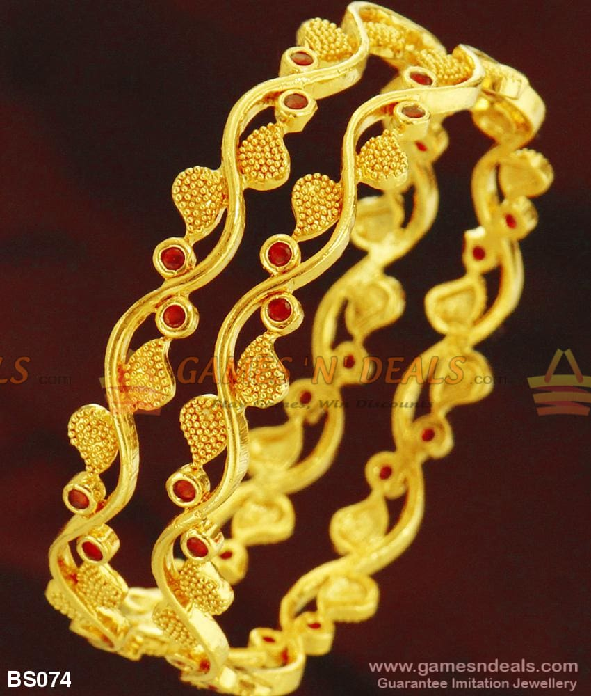 Grand Creep Design Full Red Ruby Stone Bangles For Women Bridal Jewelry Online 2.4 Bangle