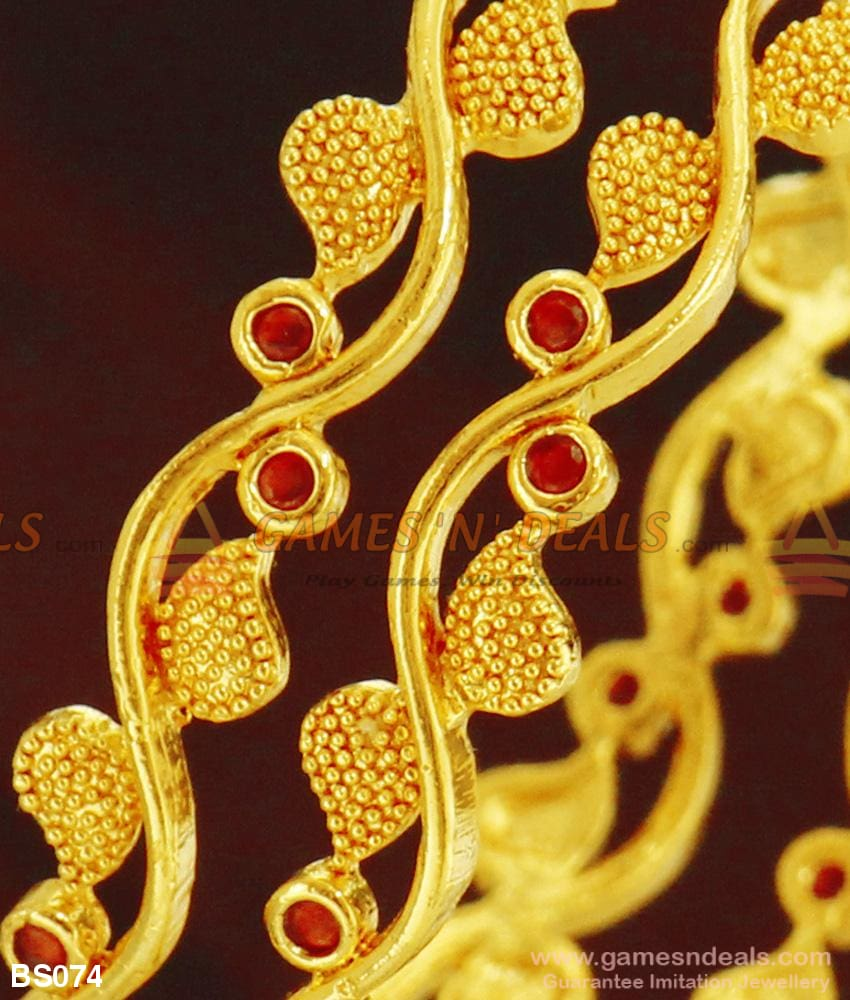 Grand Creep Design Full Red Ruby Stone Bangles For Women Bridal Jewelry Online Bangle