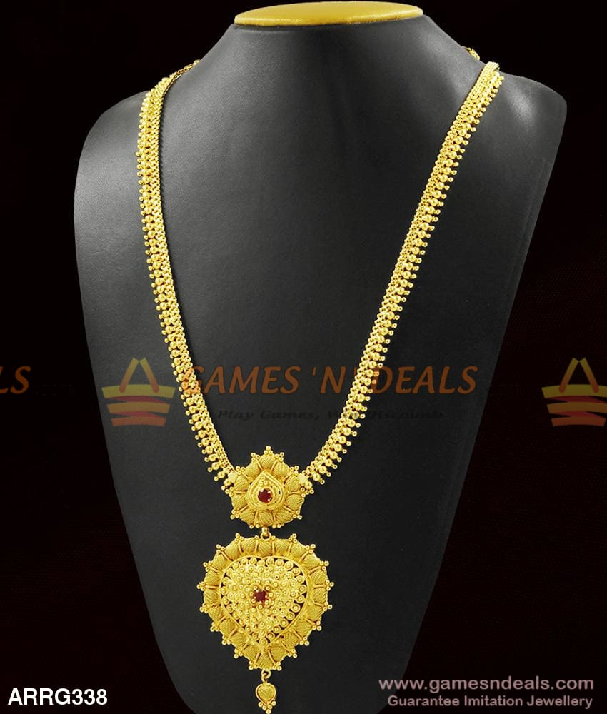 Grand Double Dollar Haram Red Stone Gold Beads Long Necklace Low Price Online 1 Year