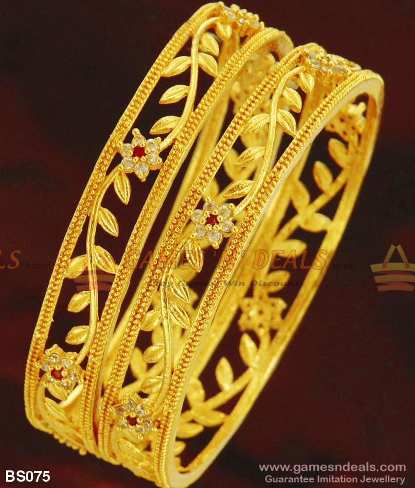 Grand Full Sparkling Cubic Zircon White Stone Bangles For Marriage 2.4 Bangle