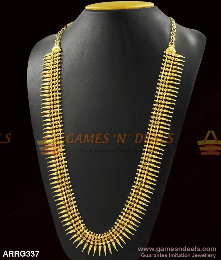 Grand Heavy Mullai Poo Long Necklace Bridal Haaram Without Stones For Marriage 1 Year