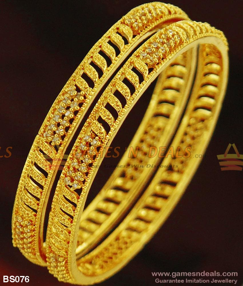 Grand Sparkling White Stone Bridal Bangles For Marriage Girls And Ladies Bs076 2.4 Bangle