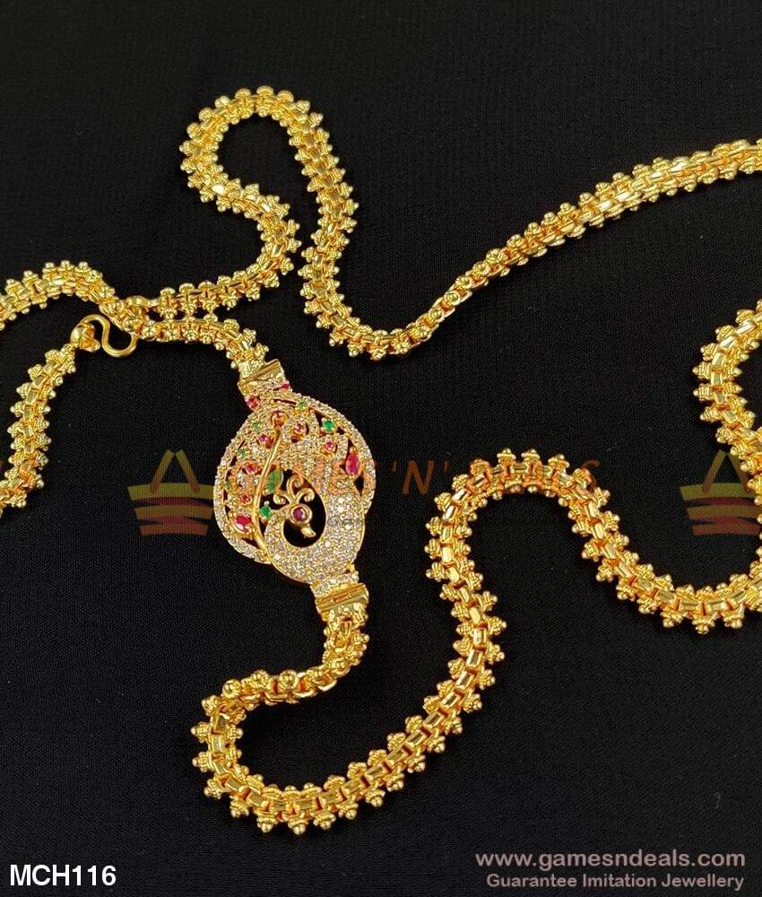 Grand Zircon Stone Big Peacock Mugappu Chain For Marriage And Receptions Mch116 24 Inches