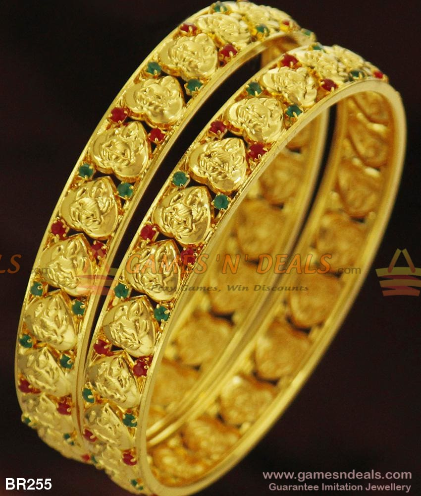 Green Red Stone Broad Lakshmi Kada Bangle Set For Marriage And Engagements 2.4