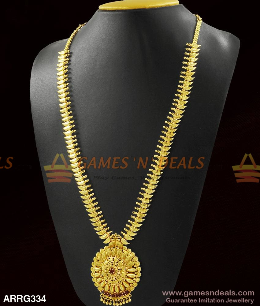 Latest Design In Long Necklace Real Gold Mango Haaram For Marriage 1 Year
