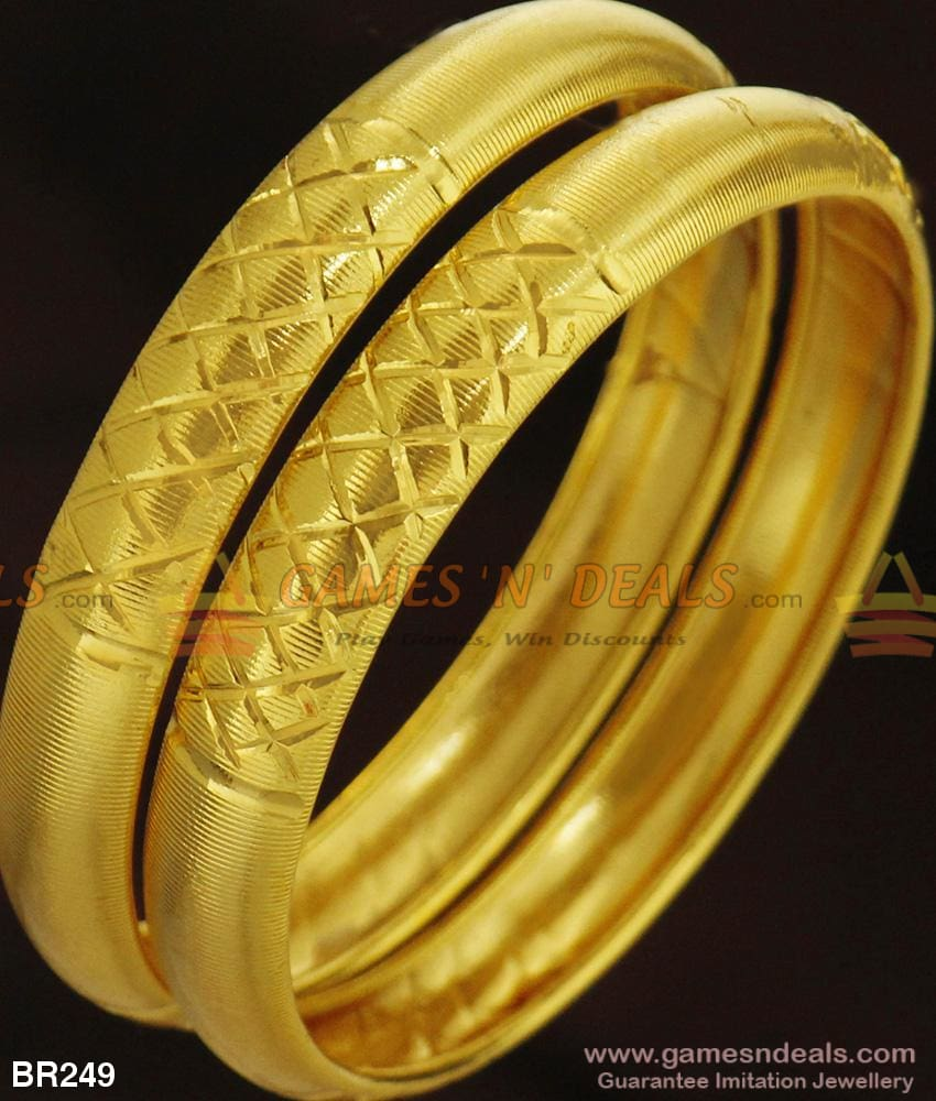 Light Weight Broad Kada Look Plain Bangle Set For Ladies And Girls Br249 2.4