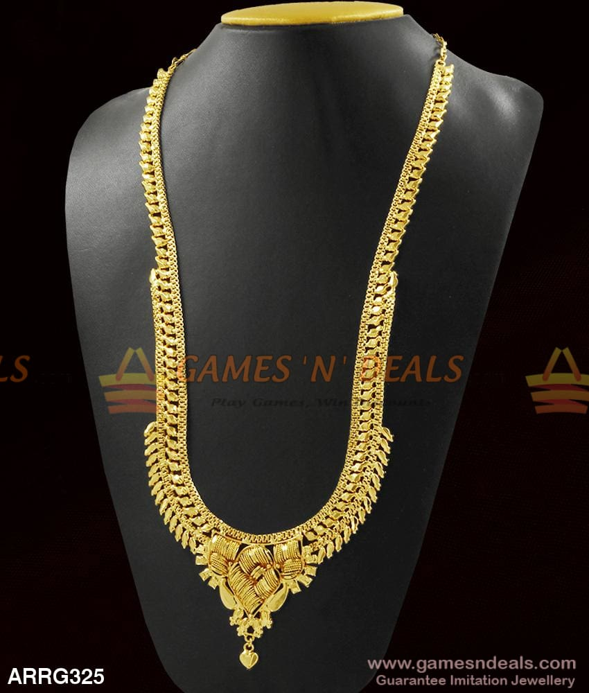 Light Weight Gold Design Calcutta Long Necklace For Women Marriage | Engagements 1 Year
