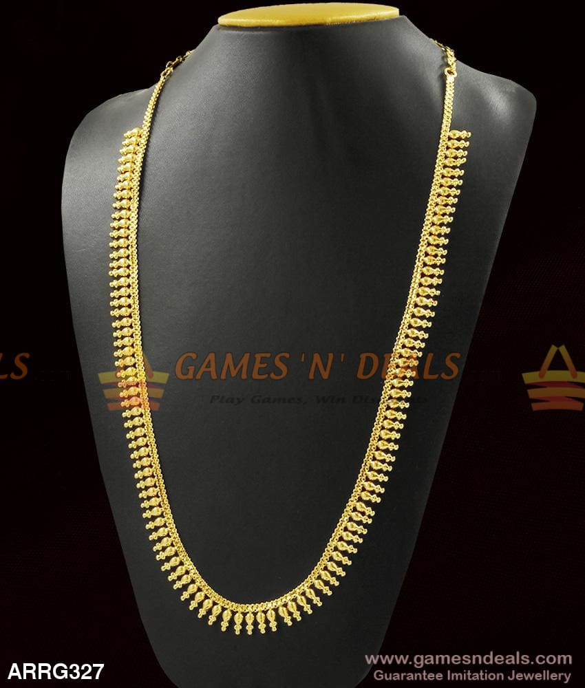 Light Weight Real Gold Design Traditional Long Necklace Kerala Mulllai Poo For Marriage 1 Year