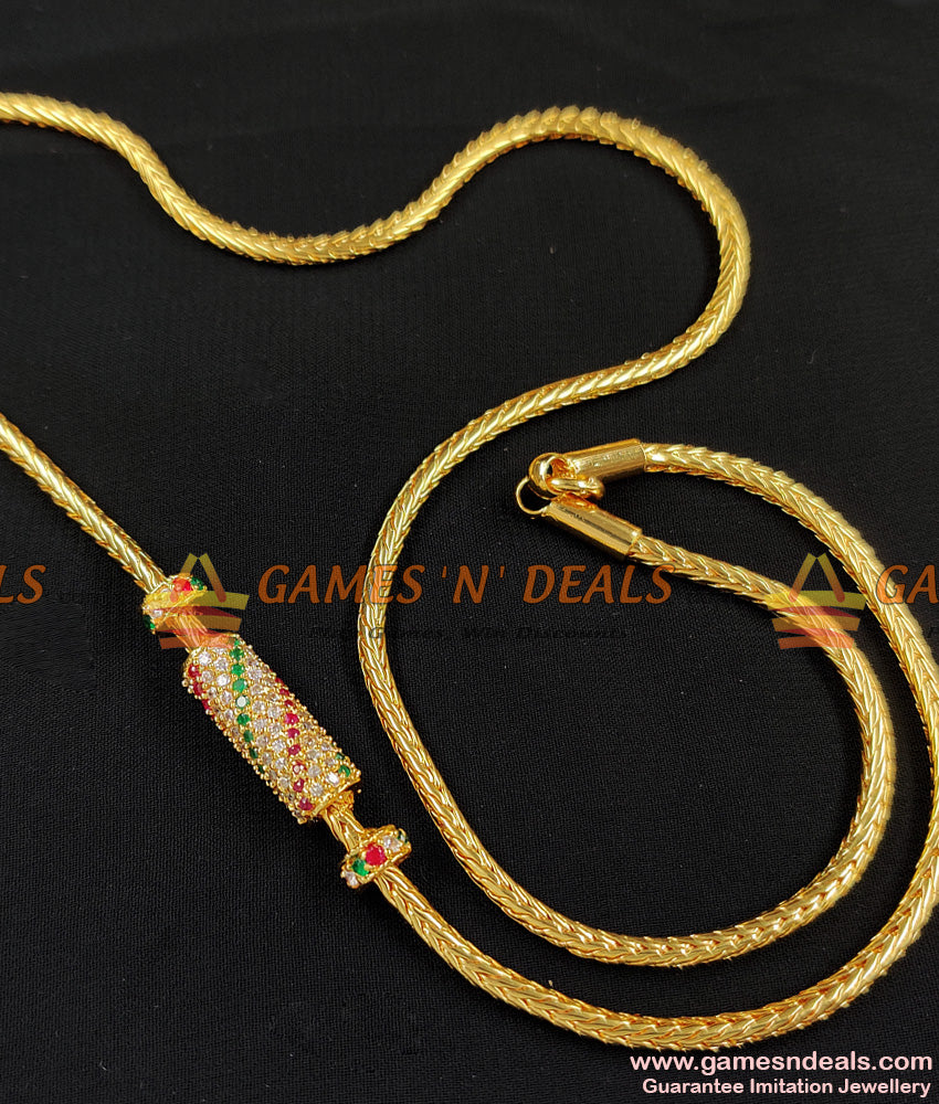 Best Selling Multistone Mugappu Chain For Married Women MCH099