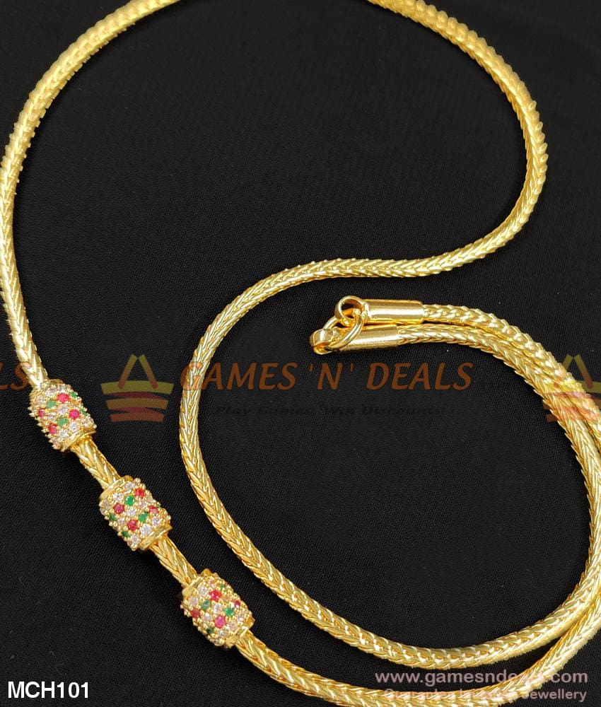 Multicolor Stone Round Mugappu Chain Free Shipping Online Mch101