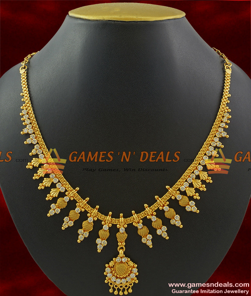 NCKN372 - Sparkling White AD Stone Mullai Design Imitation Necklace Online