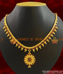 NCKN390 - Semi Precious AD Stone Imitation Jewelry Latest Necklace Design Online