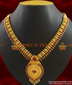 One Gram Gold Plated Grand Bridal Necklace Guarantee Ruby Stone