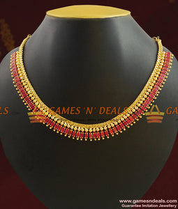 Grand Bridal Ruby Stone Necklace Set for Bride/Women NCKN406