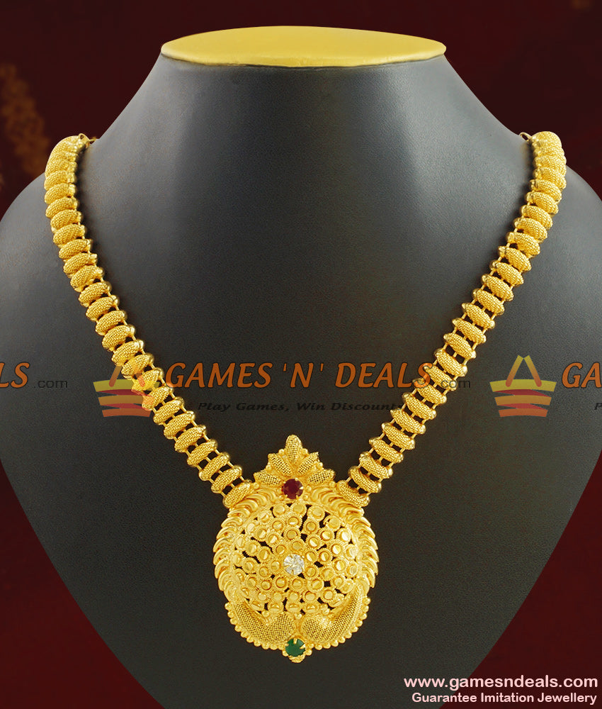 Latest Kerala Necklace Design AD Stone Handcrafted Jewelry NCKN408