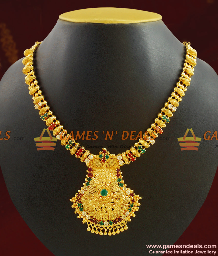 Grand Kerala Necklace Design Ruby Stone Handcrafted Jewelry NCKN410