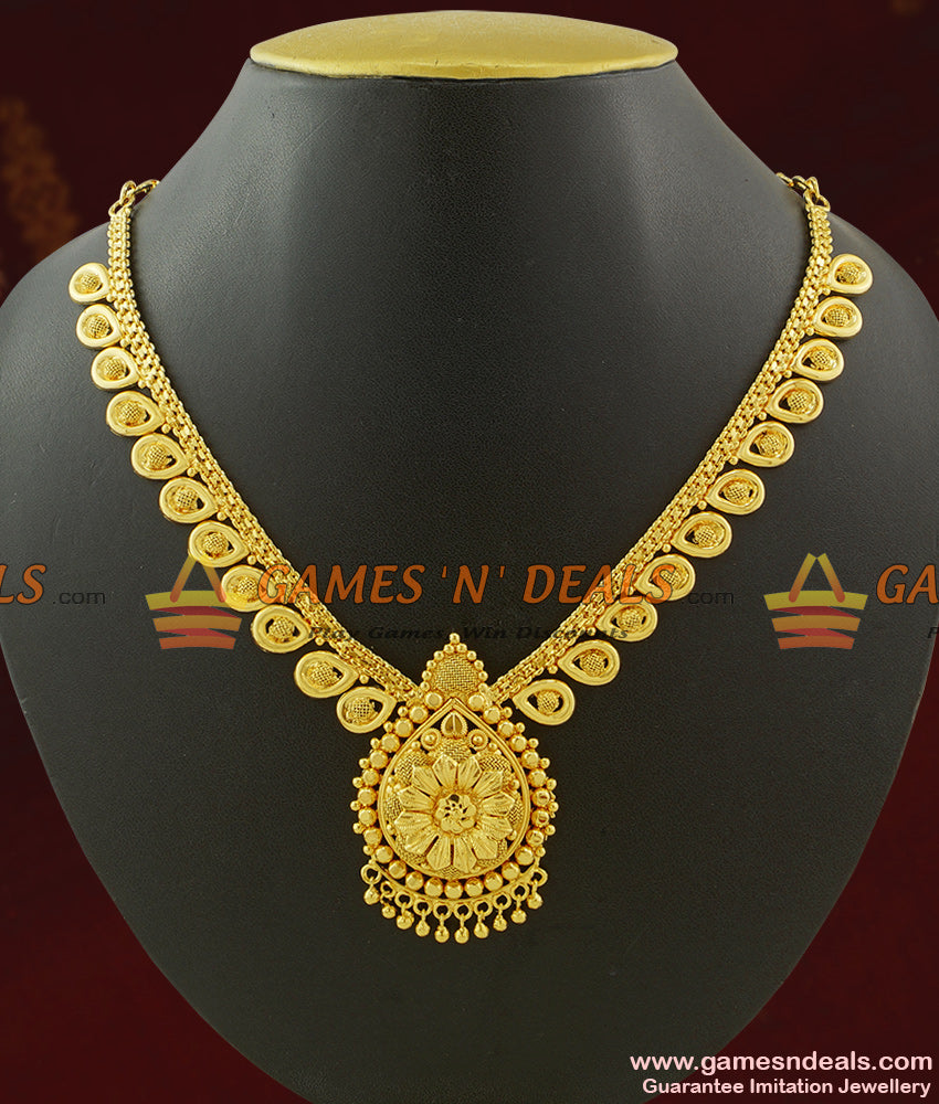 Lotus Leaf Plain Necklace set Party Wear Artificial Jewelry for Women NCKN424