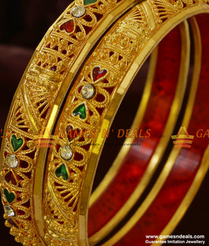 Two Pieces Stone Enamel Bangles