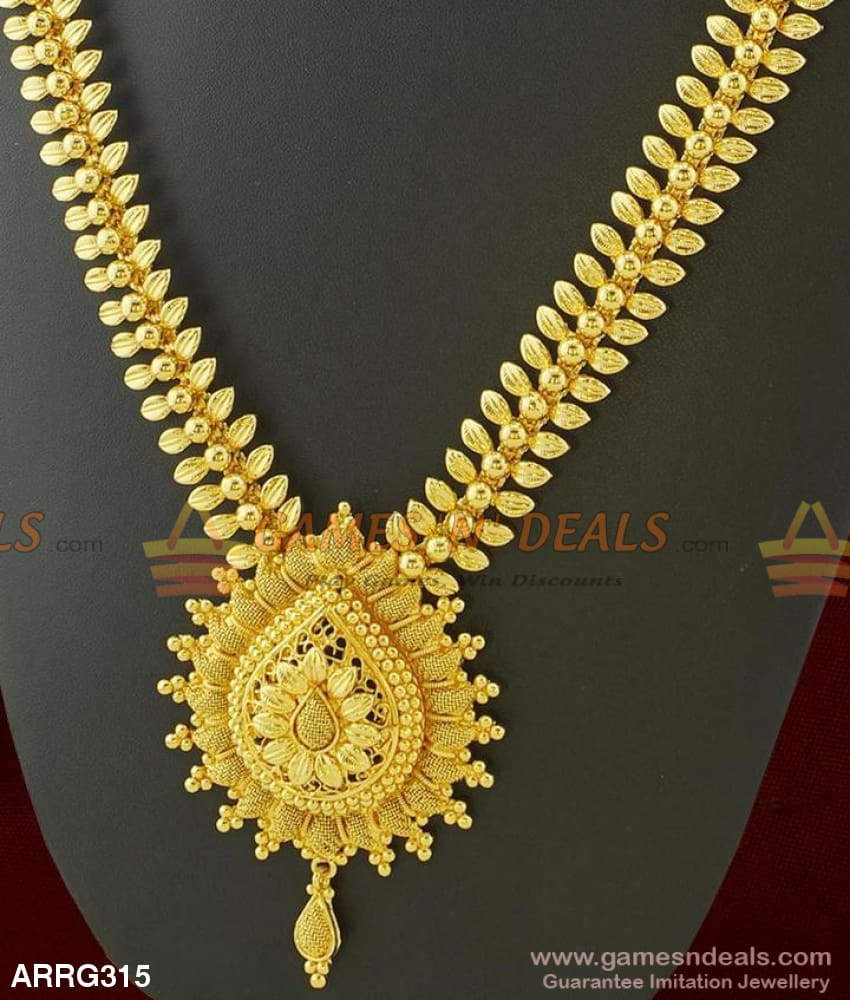 One Gram Gold Handmade Grand Bridal Haaram Guarantee Long Necklace For Marriage