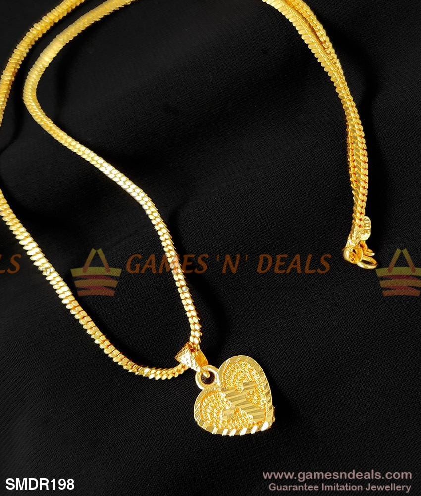 One Gram Gold Simple Heart Dollar Christian Cross Pendant For Girls And Ladies
