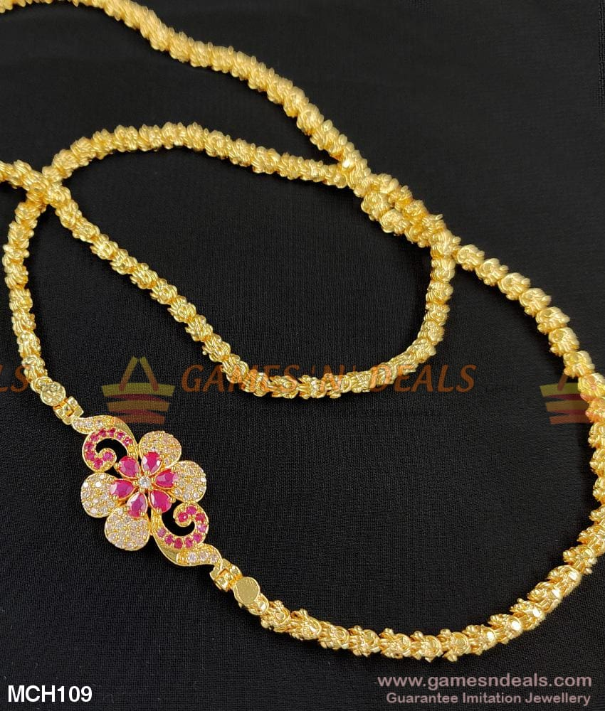 One Gram Micro Gold Plated Ruby Ad Stone Mugappu Chain For Girls Mch109 24 Inches