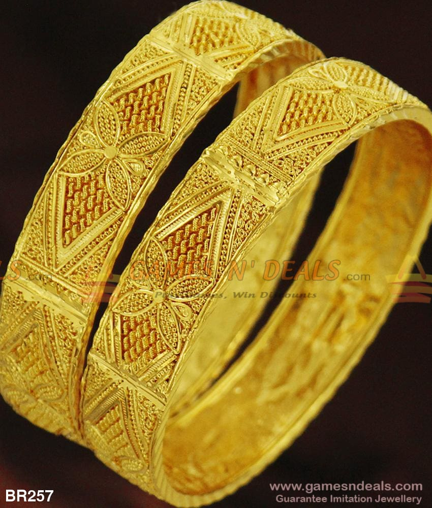 Real 24Kt One Gram Gold Design Broad Kada Bangles For Marriage And Engagements 2.4 Bangle