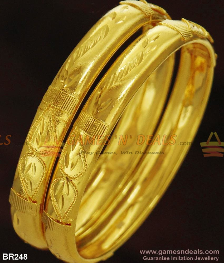 Shiny 24Kt Real Gold Design Plain Bangles For Daily Use Ladies And Girls 2.4 Bangle