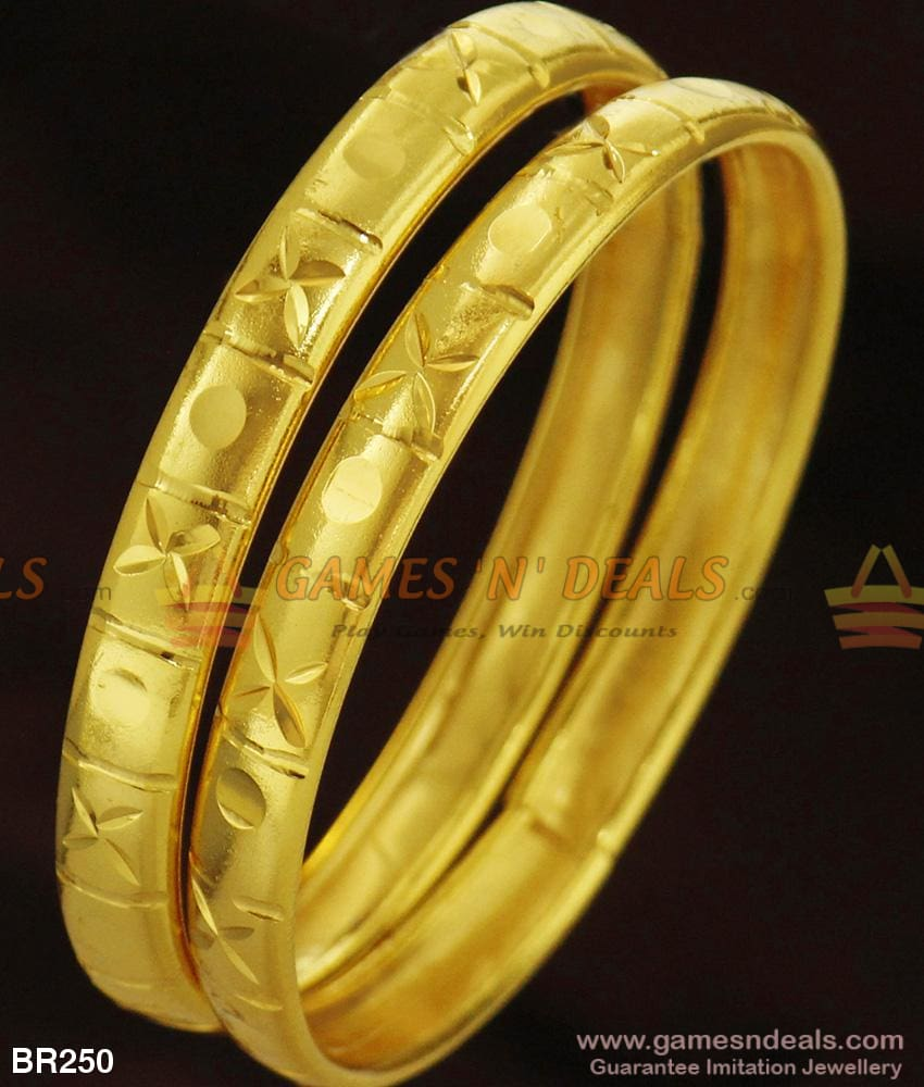 Simple Daily Use Two Pieces Gold Design Bangle Set For Ladies And Girls 2.4