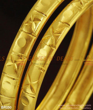 Simple Daily Use Two Pieces Gold Design Bangle Set For Ladies And Girls
