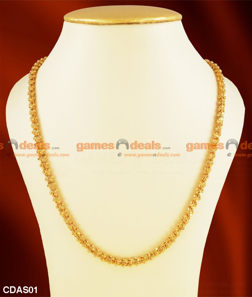 South Indian Gold Plated Kerala Jasmine Daily Wear Design Chain 24 Regular / 5Mm (Medium)