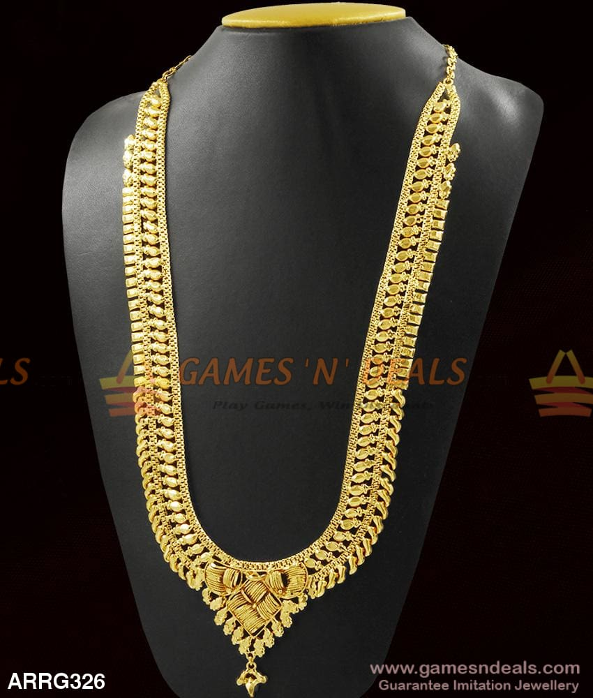 Traditional Calcutta Pattern Real Gold Design Long Necklace For Marriage 1 Year