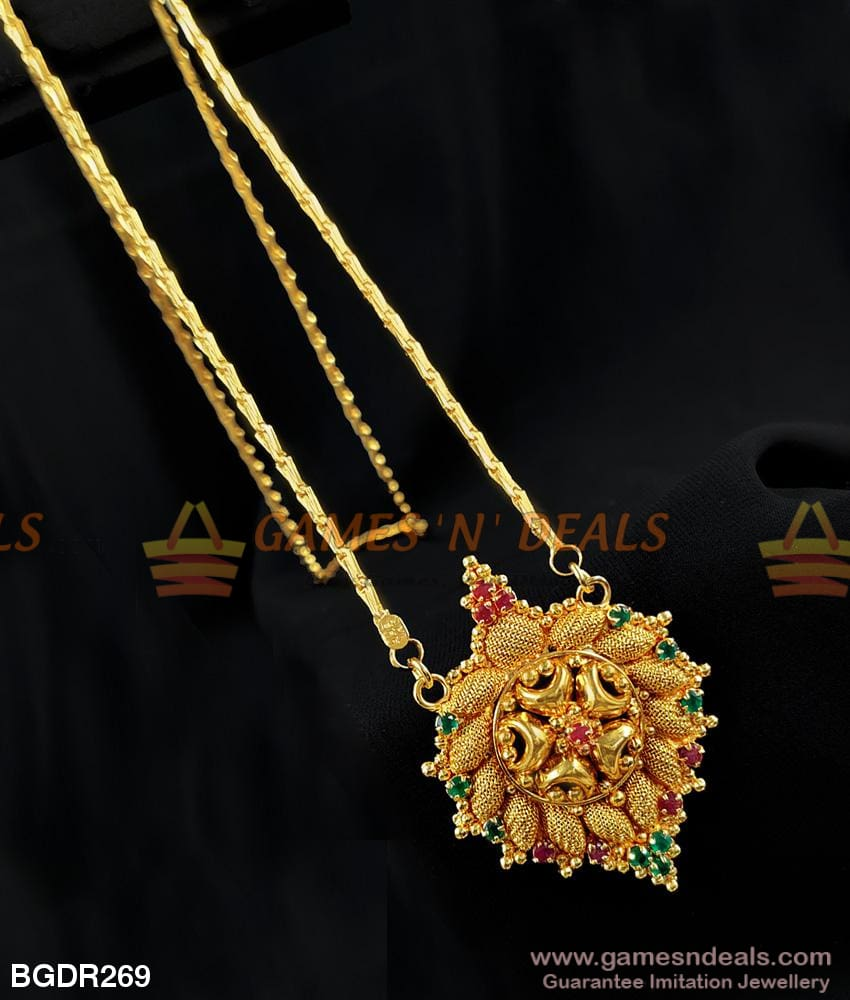 Trendy Green Red Stone Dollar Wheat Model Daily Use Chain For Women And Girls Buy Online 24 Inches