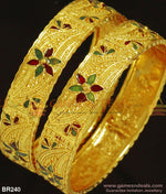 Two Pieces Broad Kada Bangles Gold Tone Enamel Design For Marriage And Engagements 2.4 Bangle