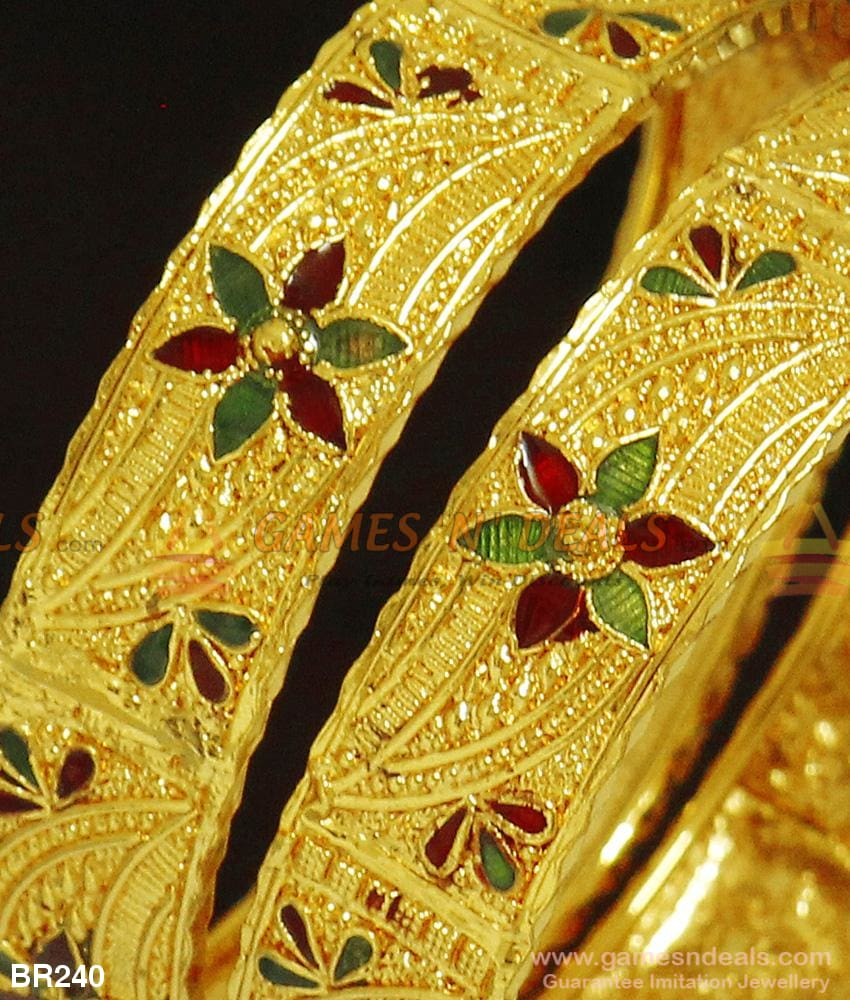 Two Pieces Broad Kada Bangles Gold Tone Enamel Design For Marriage And Engagements Bangle