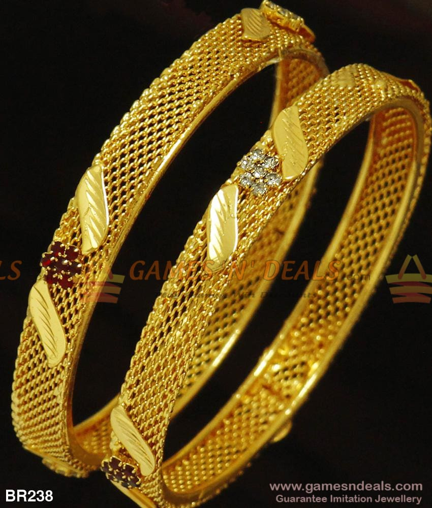 Two Pieces Guarantee Kerala Stone Bangles For Marriage Gold Design Imitation Jewelry