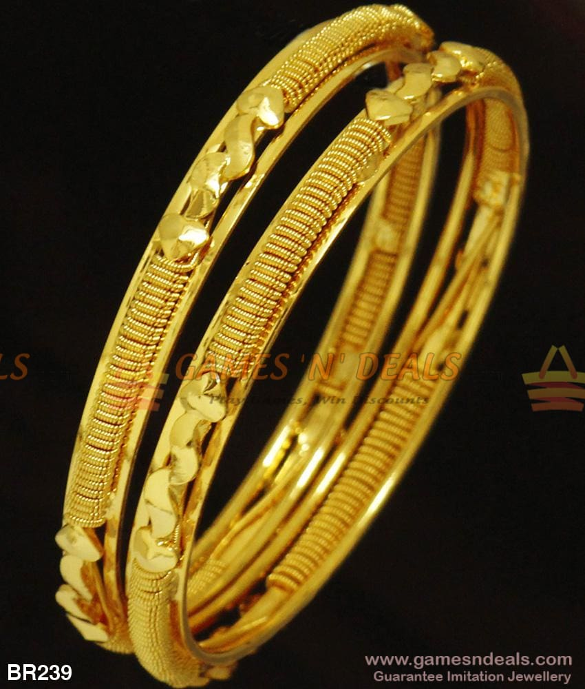 Two Pieces Plain Gold Bangles One Gram Design For Marriage And Engagements 2.4 Bangle