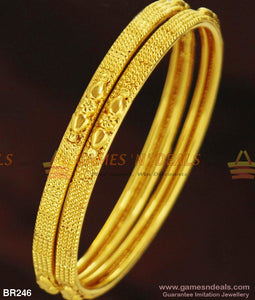 Two Pieces Thin Gold Design Plain Bangles For Daily Use Buy Online 2.4 Bangle