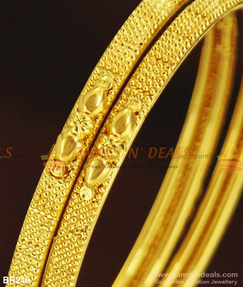 Two Pieces Thin Gold Design Plain Bangles For Daily Use Buy Online Bangle