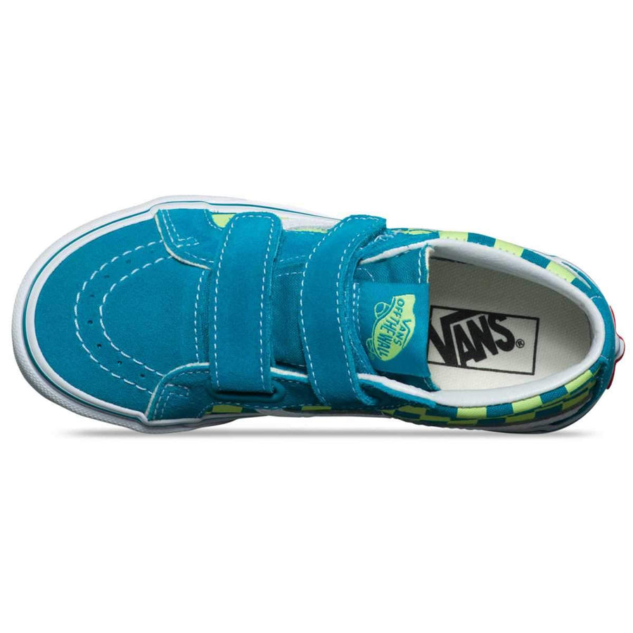 Vans Kids Checkerboard SK8 Mid Reissue V U4V - E Blue Green