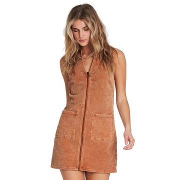 Billabong Foxy Corduroy Mini Dress - TOFFEE
