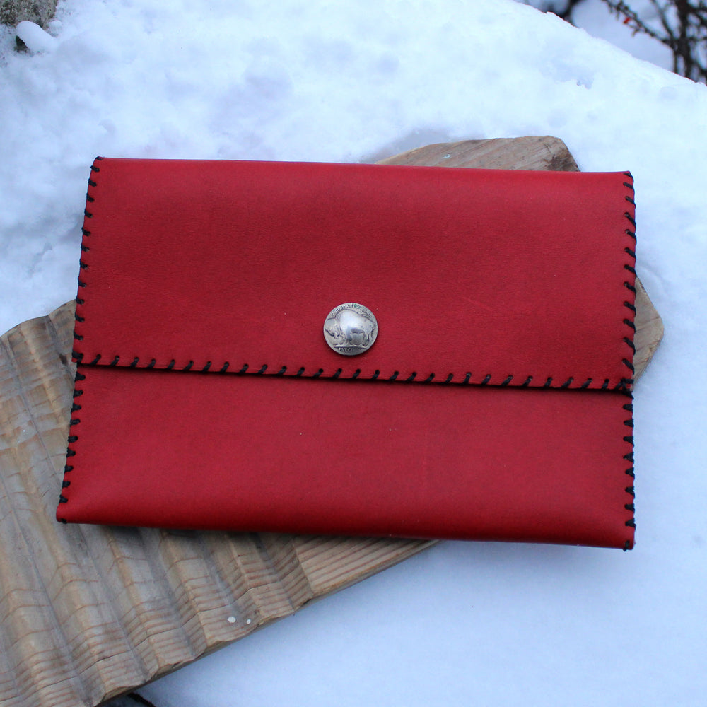 Red Buffalo Nickel Snap Clutch