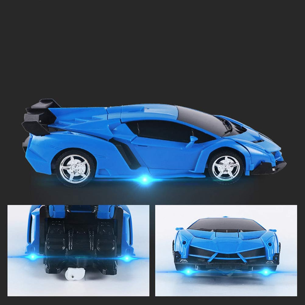 Transforming Robot Car 2.4 GHz Remote Control Toy 360 Degree Rotating One Button Transform RC Car