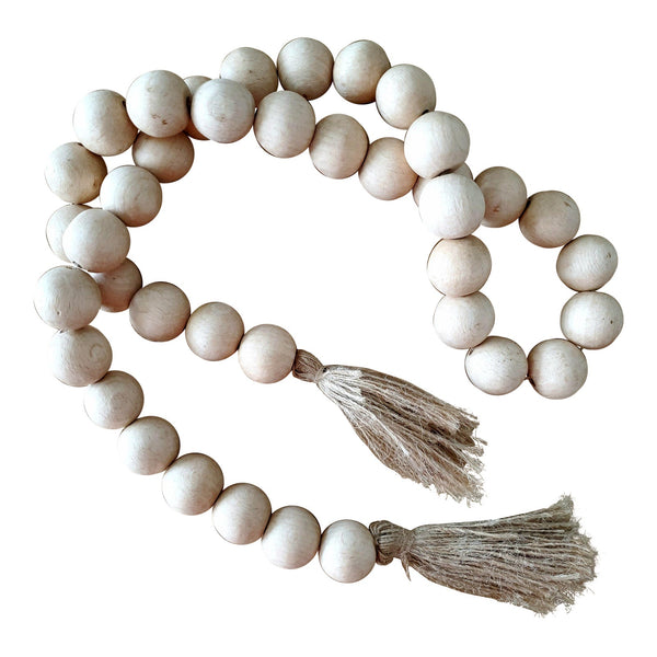 Natural Wood Bead Garland with Jute Tassels