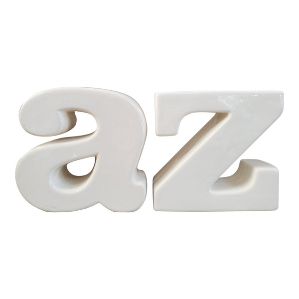 A & Z Glazed Pottery Bookends, a Pair
