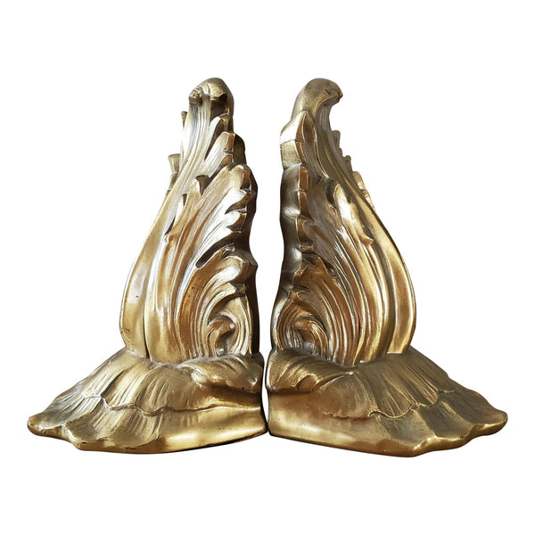 Mid Century Gold Metal Bookends, a Pair