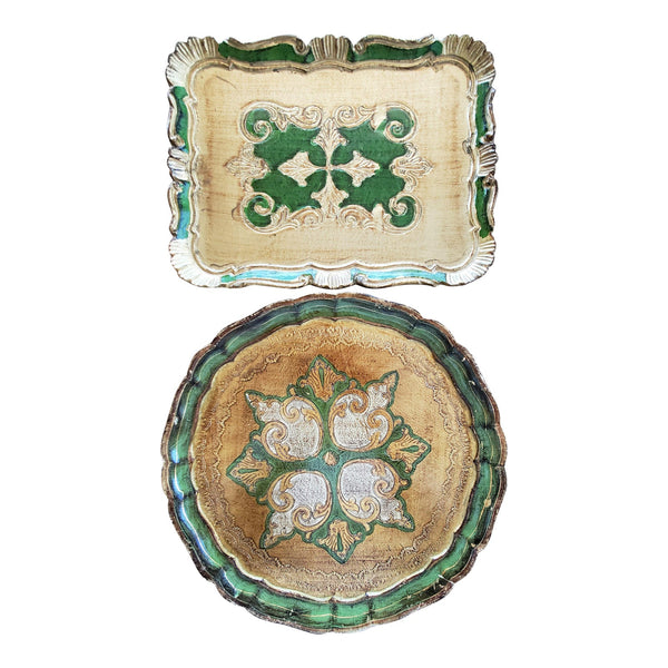 Italian Florentine Gilt Trays, 2 Piece