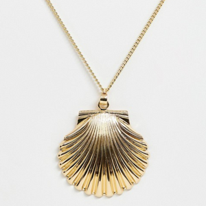 Oversized Gold Tone Shell Necklace