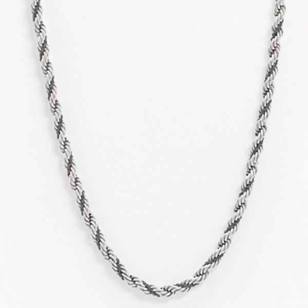 Shiny Silver Tone Rope Chain