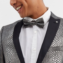 Load image into Gallery viewer, Snake Print Bow Tie Metallic Black